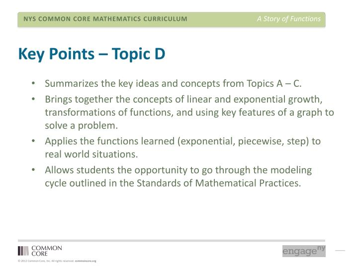 Key Points – Topic D