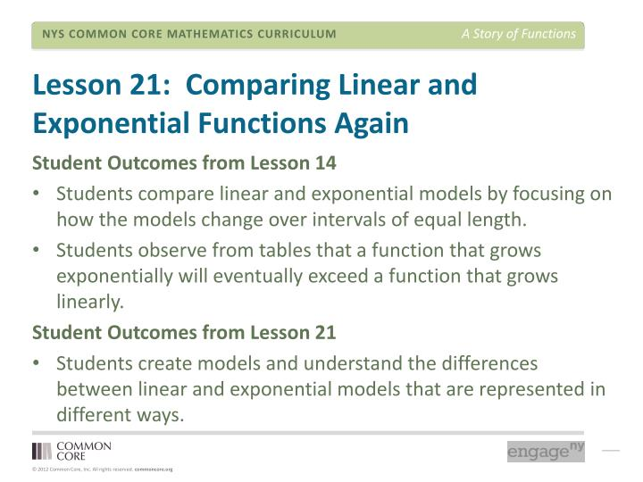 Lesson 21:  Comparing Linear and Exponential Functions Again