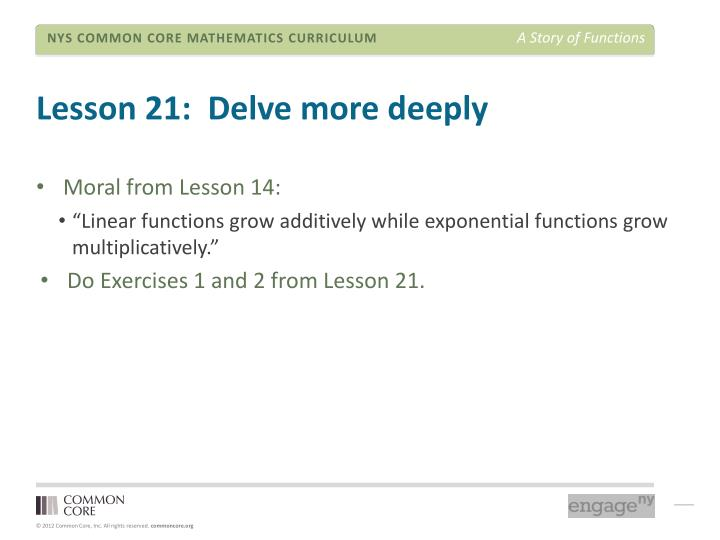 Lesson 21:  Delve more deeply