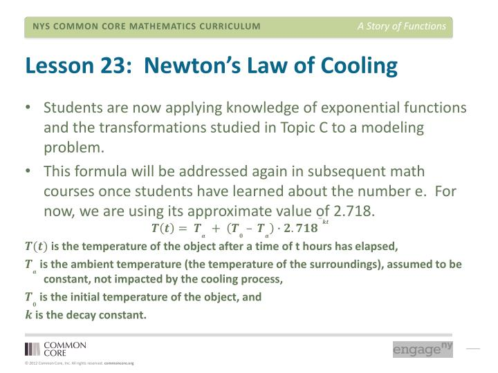 Lesson 23:  Newton's Law of Cooling