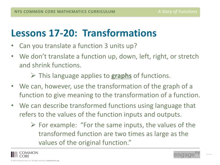 Lessons 17-20:  Transformations