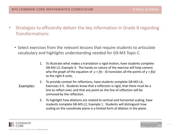 Strategies to efficiently deliver the key information in Grade 8 regarding Transformations: