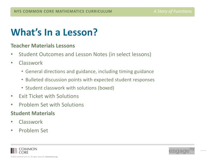 What's In a Lesson?