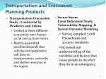 transportation and evacuation planning products