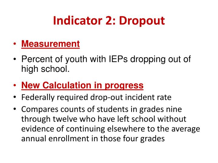 Indicator 2: Dropout