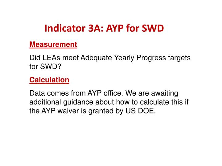 Indicator 3A: AYP for SWD