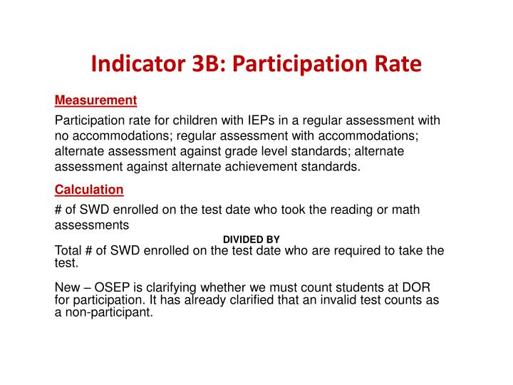Indicator 3B: Participation