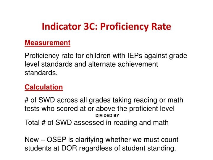 Indicator 3C: Proficiency