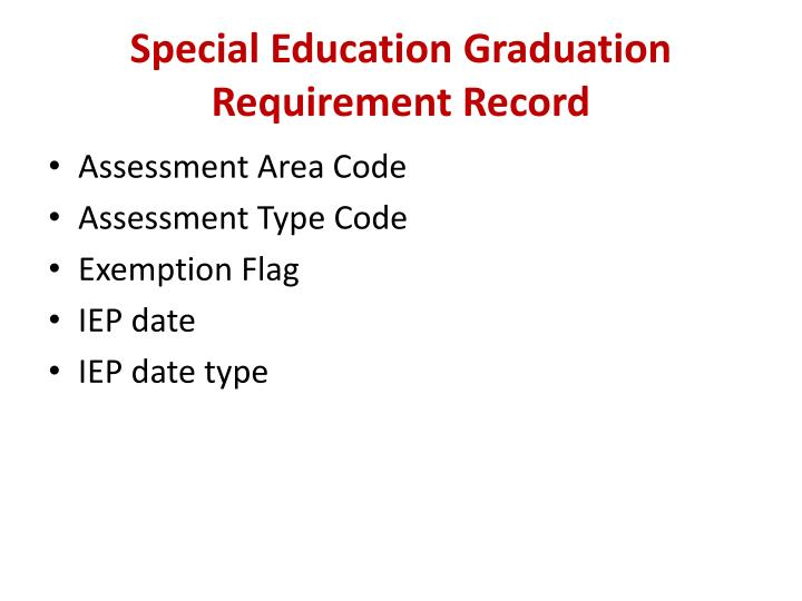 Special Education Graduation Requirement Record