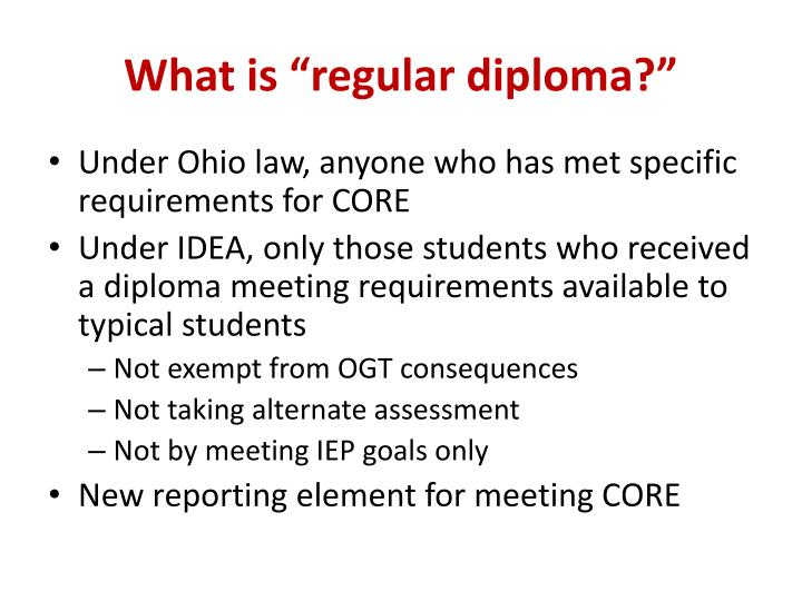 "What is ""regular diploma?"""