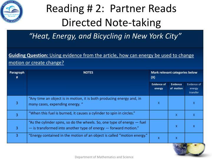 Reading # 2:  Partner Reads