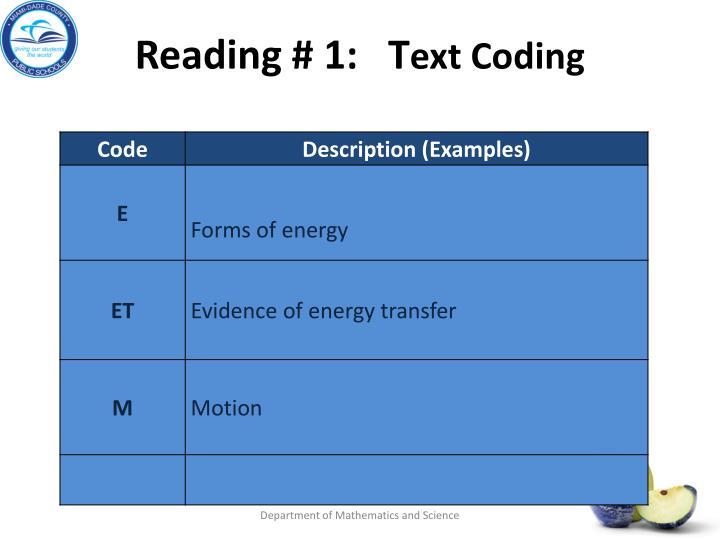 Reading # 1:   T