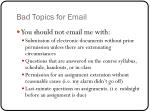 bad topics for email
