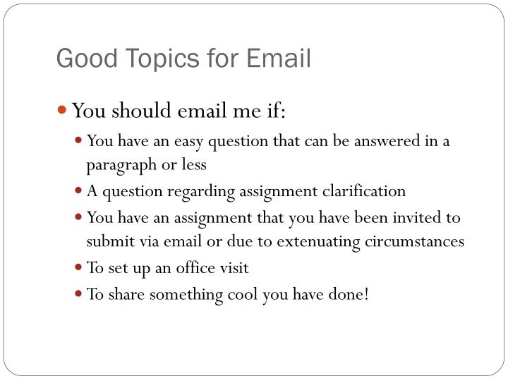 Good Topics for Email