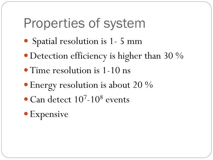 Properties of system
