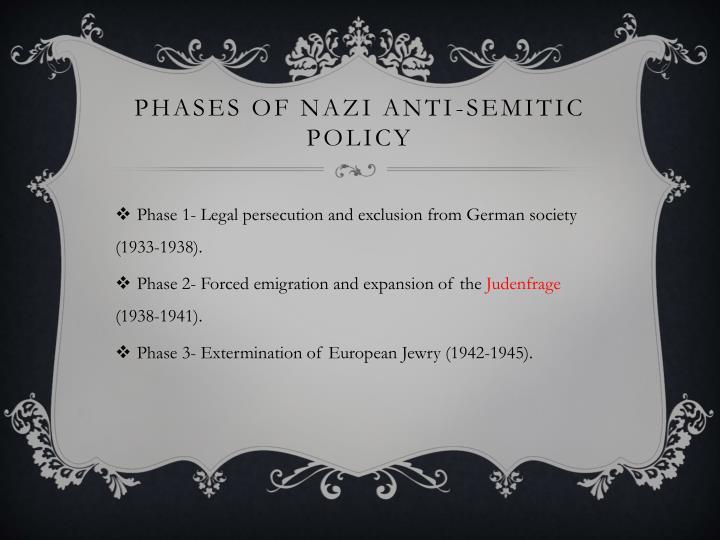 Phases of Nazi Anti-Semitic Policy