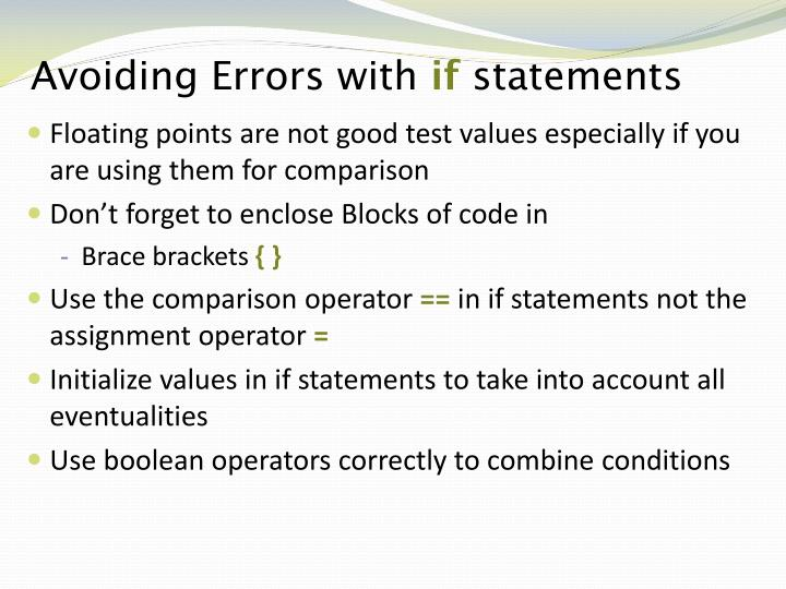 Avoiding errors with if statements