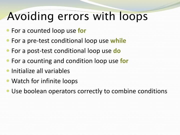 Avoiding errors with loops
