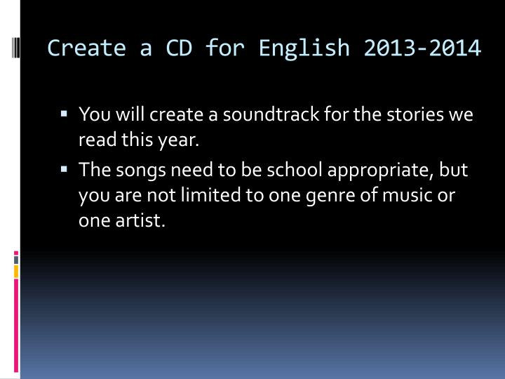 Create a CD for English 2013-2014