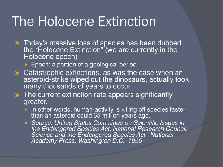 The Holocene Extinction