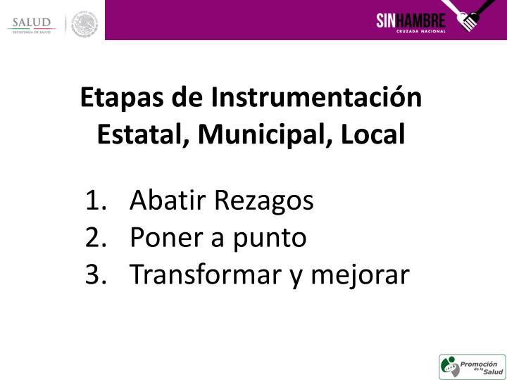Etapas de Instrumentación Estatal, Municipal, Local