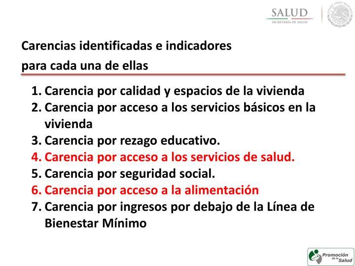 Carencias identificadas e indicadores