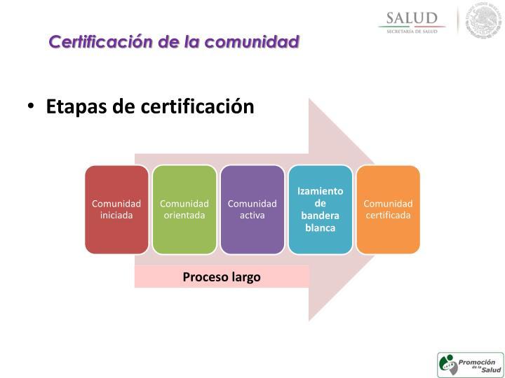 Certificación de la comunidad