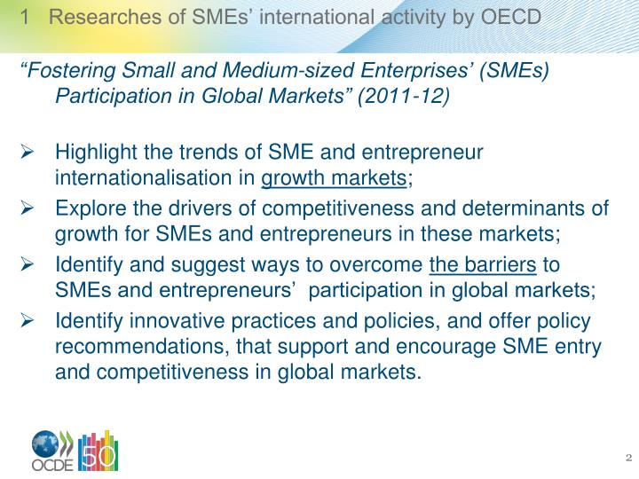 1   Researches of SMEs' international activity by OECD