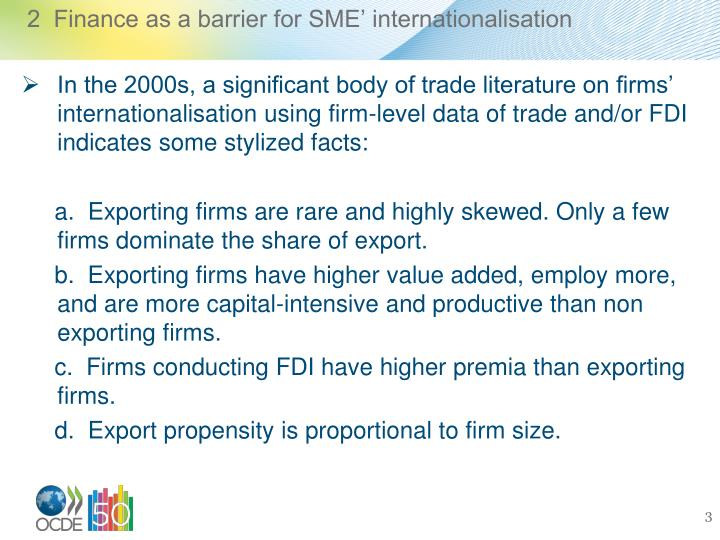 2  Finance as a barrier for SME' internationalisation