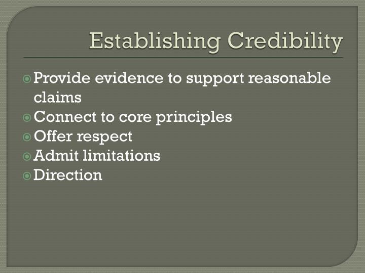 Establishing Credibility