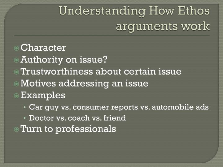 Understanding How Ethos arguments work