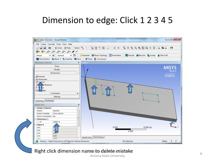 Dimension to edge: Click 1 2 3 4 5