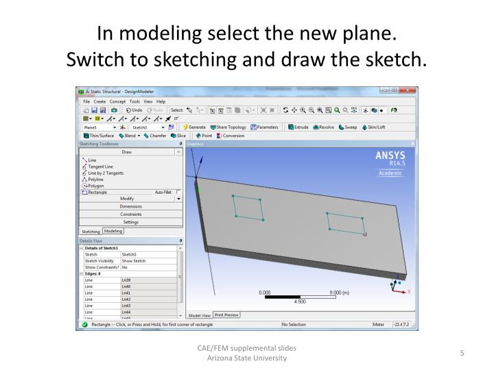 In modeling select the new plane.