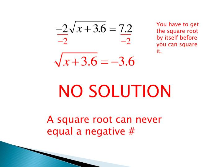 You have to get the square root by itself before you can square it.
