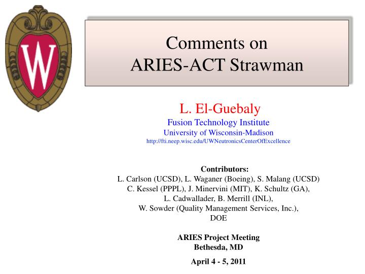 Comments on aries act strawman
