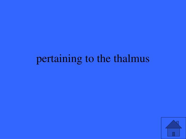pertaining to the thalmus