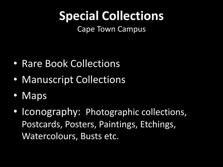 Special collections cape town campus