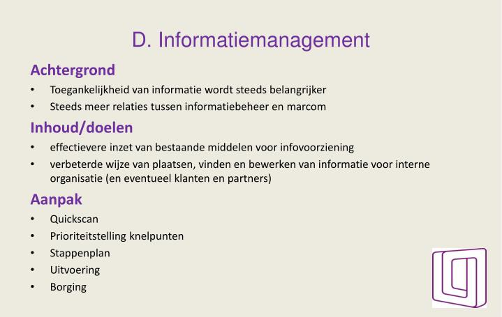 D. Informatiemanagement