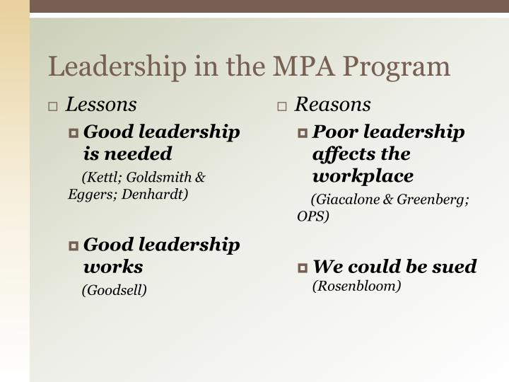 Leadership in the MPA Program