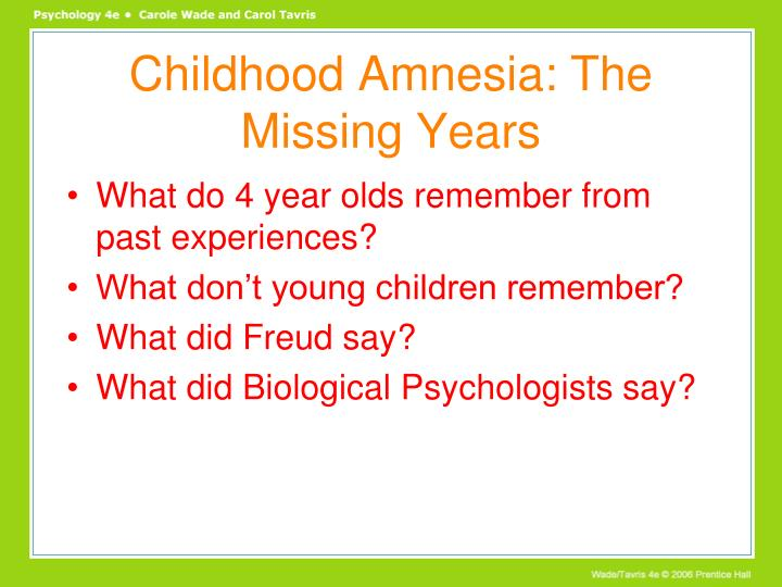 Childhood Amnesia: The Missing Years