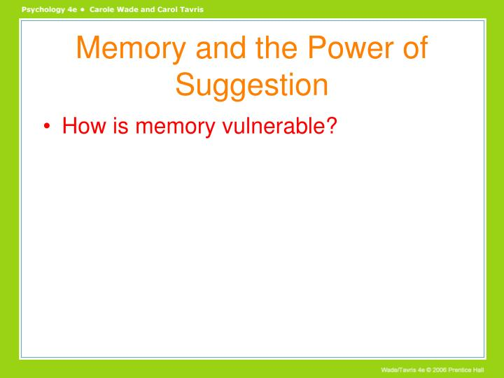Memory and the Power of Suggestion