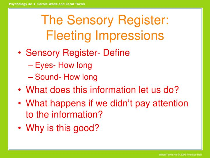 The Sensory Register: Fleeting