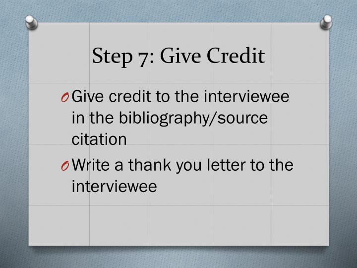 Step 7: Give Credit