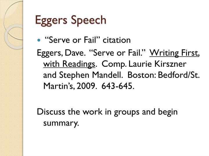 Eggers Speech