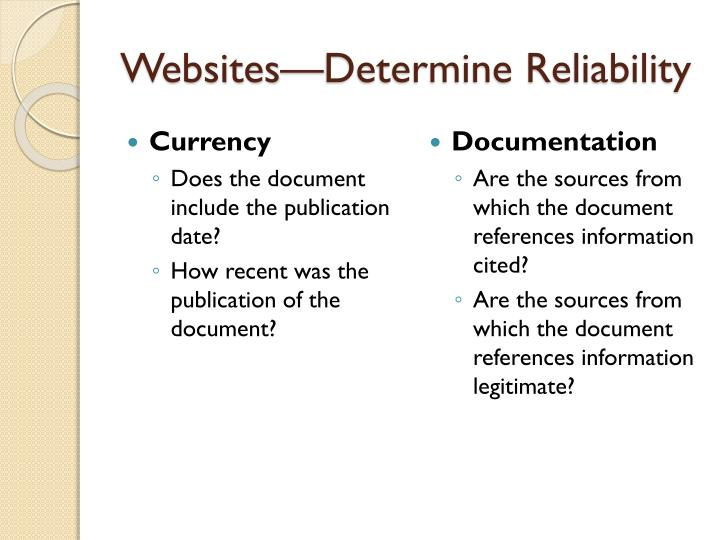 Websites—Determine Reliability