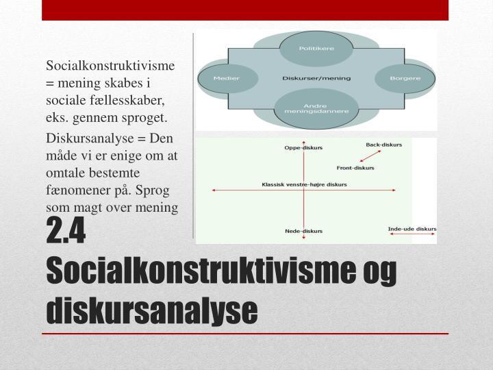Socialkonstruktivisme = mening skabes i sociale fællesskaber, eks. gennem sproget.