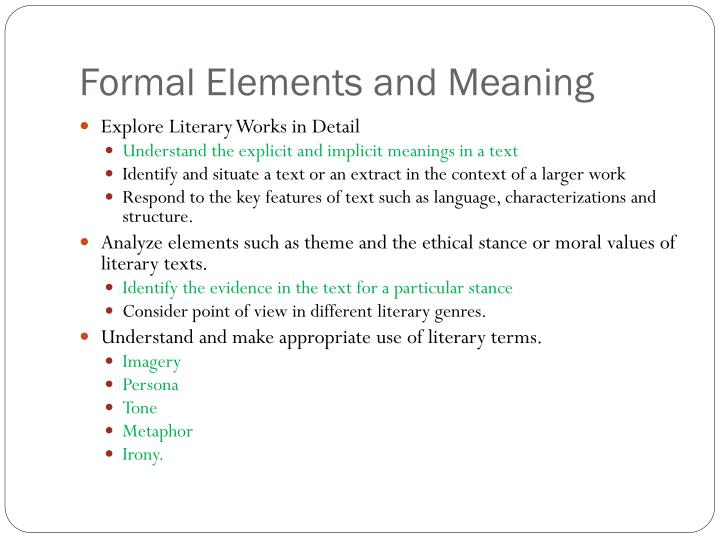 Formal Elements and Meaning