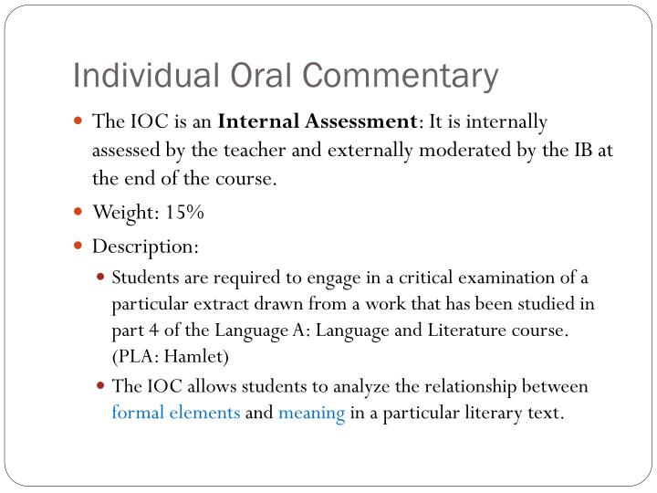 Individual oral commentary