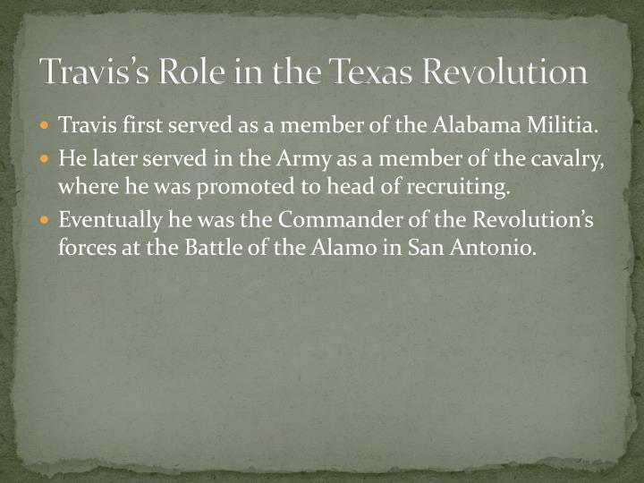Travis's Role in the Texas Revolution
