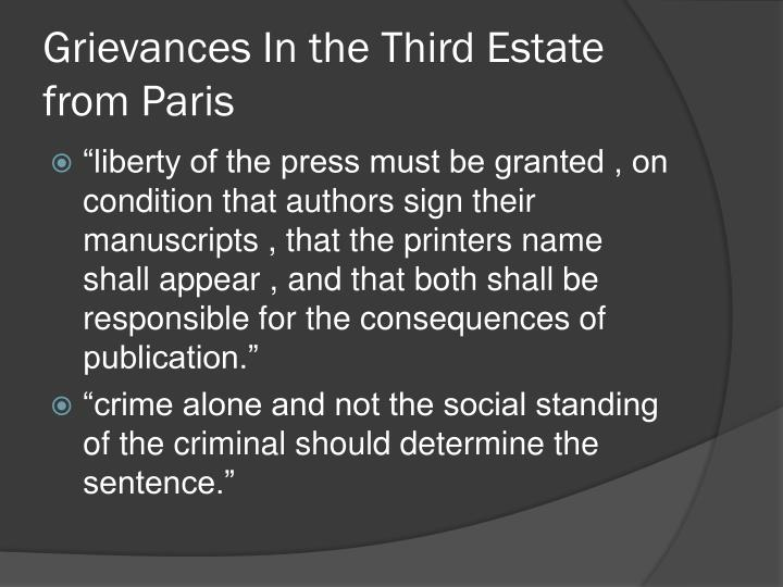 Grievances In the Third Estate from Paris